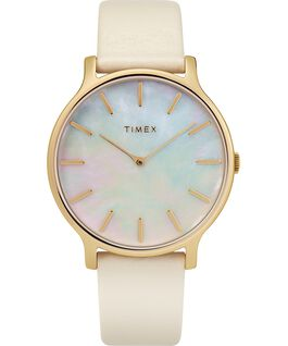 Transcend 38mm Leather Strap Watch Gold-Tone/Off-White/Mother-of-Pearl large