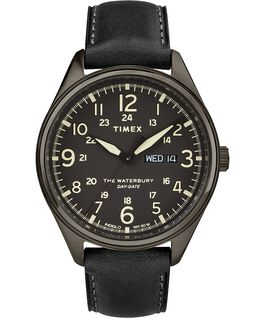 Reloj Waterbury Traditional Day Date con fecha de 42mm con correa de cuero Negro large