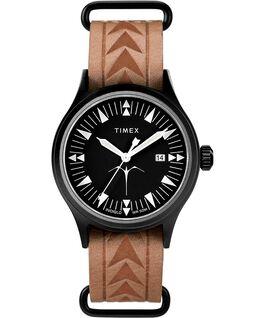 Reloj Timex x Keone Nunes de 40mm con correa de cuero Negro/Marrón large