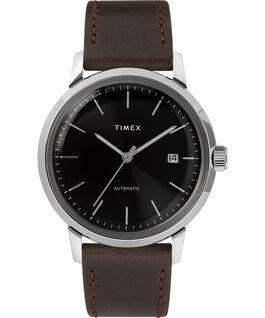 Reloj Marlin de 34mm de cuerda manual con correa de cuero Black/Silver-Tone large