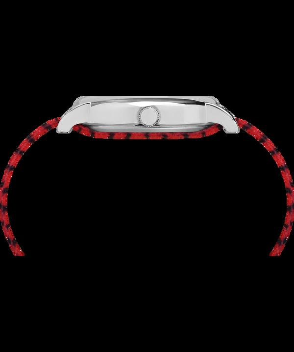Timex x Peanuts - Reloj Linus de 38mm con correa de tela Silver-Tone/Red/White large