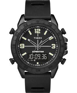 Reloj combinación analógico/digital Expedition Pioneer de 41mm con correa de silicona de cambio rápido Negro large