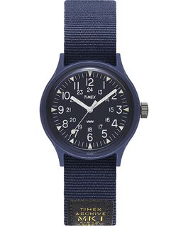Reloj militar MK1 de 36mm con correa de otomán Azul large
