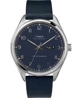 Reloj automático Waterbury Traditional de 42mm con fecha y correa de piel Acero inoxidable/Azul large
