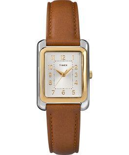 Reloj Meriden de 25mm con correa de cuero Dos tonos/Marrón/Plateado large