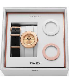 Reloj Variety de 34mm con correa de cuero, set Tono oro rosa/Blanco large