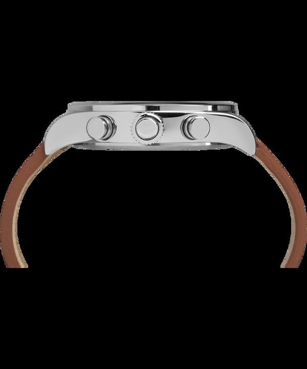 Reloj cronógrafo Waterbury Traditional de 42mm con correa de cuero Stainless-Steel/Brown/Black large