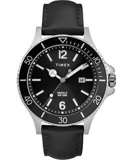 Reloj Harborside de 42mm con correa de cuero Cromado/Negro large