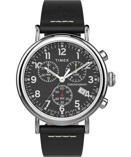 Reloj cronógrafo Standard de 40mm con correa de cuero Silver-Tone/Black/Black large
