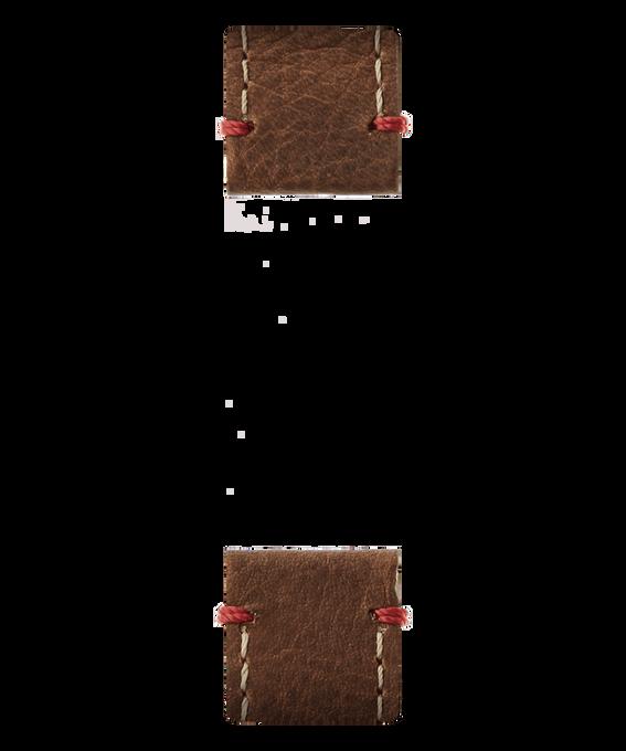 Correa de dos piezas de cuero marrón  large