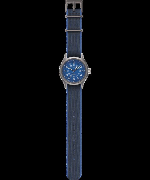Reloj Allied de 40mm con correa de tela elástica Plateado/Negro large