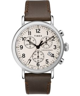 Reloj cronógrafo Standard de 40mm con correa de cuero Plateado/Marrón/Crema large