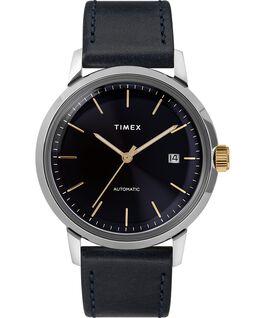 Reloj Marlin de 34mm de cuerda manual con correa de cuero Navy/Silver-Tone large
