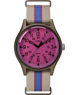 Reloj MK1 California de 40mm con correa de tela Cuero oscuro/Rosa large