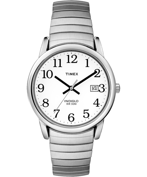 Reloj Easy Reader de 35mm con correa extensible Silver-Tone/Stainless-Steel/White large