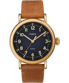 Reloj Standard de 40mm con correa de cuero Dorado/Marrón/Azul large