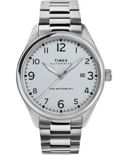 Reloj automático Waterbury Traditional de 42 mm con correa metálica de acero inoxidable Acero inoxidable/Blanco large