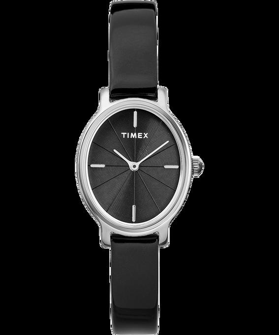 Reloj Milano Oval de 24mm con correa de charol Plateado/Negro large