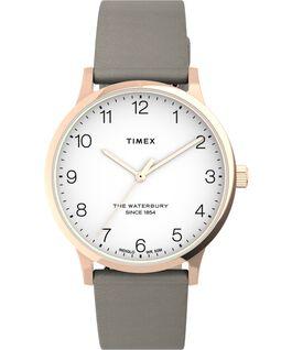 Reloj Waterbury Classic de 36mm con correa de piel Tono oro rosa/Camel/Blanco large