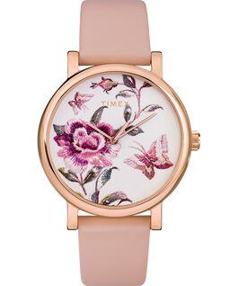 Reloj Full Bloom de 38mm con correa de piel Tono oro rosa/Rosa/Blanco large