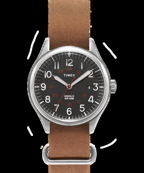 Reloj Waterbury United de 38mm con correa de cuero lavado a la piedra Plateado/Marrón/Negro large
