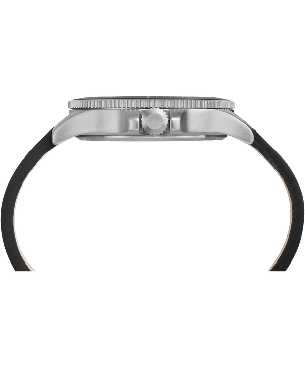 Reloj Allied Coastline de 43mm con correa de cuero Silver-Tone/Black large