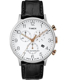 Reloj cronógrafo Waterbury Classic de 40mm con correa de piel Acero inoxidable/Negro/Blanco large