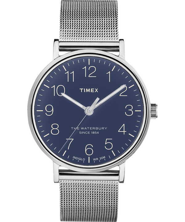 Reloj de acero inoxidable Waterbury Classic de 40mm con correa metálica Stainless-Steel/Blue large