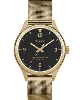 Reloj para mujer Waterbury Traditional de 34mm con correa de malla metálica Dorado/negro large