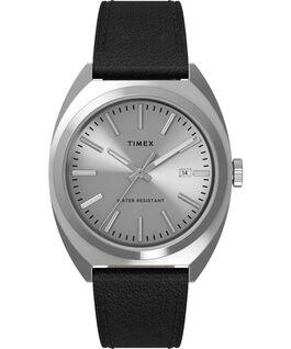 Reloj Milano XL de 38mm con correa de piel Acero inoxidable/Negro/Plateado large