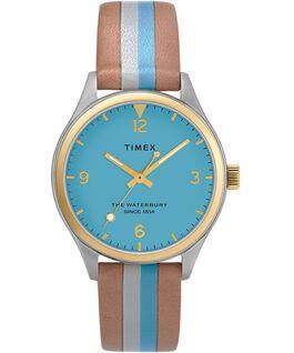 Reloj para mujer Waterbury Traditional de 34mm con correa de cuero a rayas Dos tonos/Camel/Azul/Dorado large