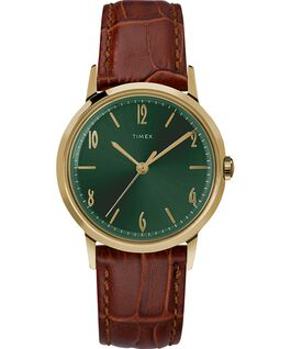 Reloj Marlin de 34 mm de cuerda manual con correa de cuero Gold-Tone/Brown/Green large