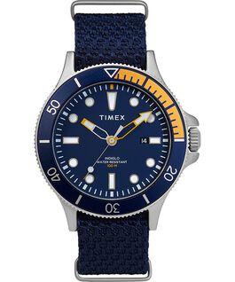 Reloj Allied Coastline de 43mm con bisel giratorio y correa de tela Silver-Tone/Blue large