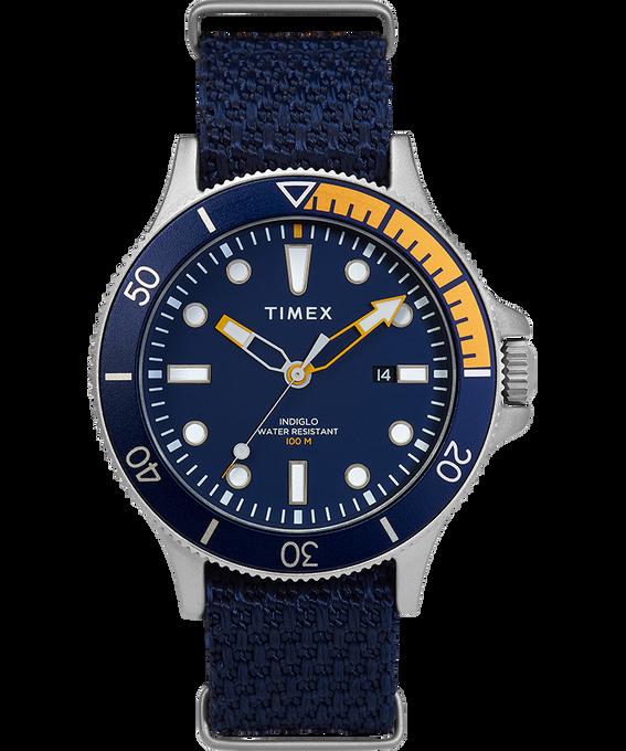 Reloj Allied Coastline de 43mm con bisel giratorio y correa de silicona Plateado/Azul large