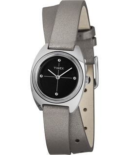Milano 24mm Double-Wrap Leather Watch Silver-Tone/Black large