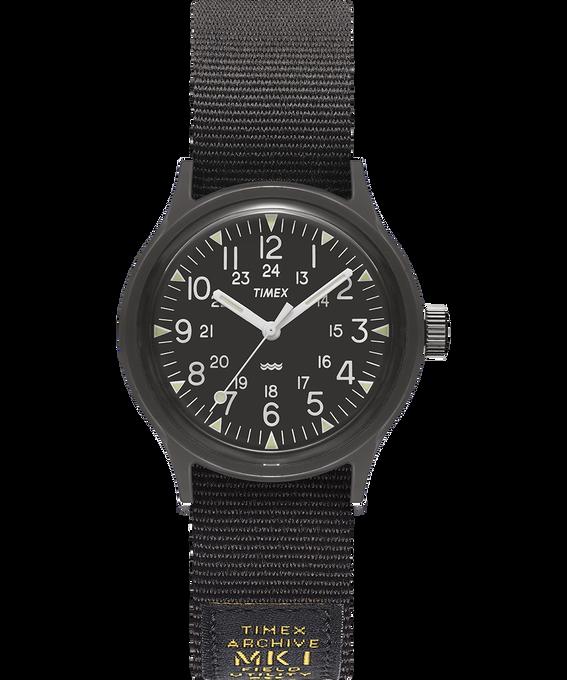 Reloj militar MK1 de 36mm con correa de otomán Negro large