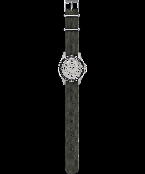 Reloj Navi Ocean de 38mm con correa de tela elástica Acero inoxidable/Verde/Azul/Negro large