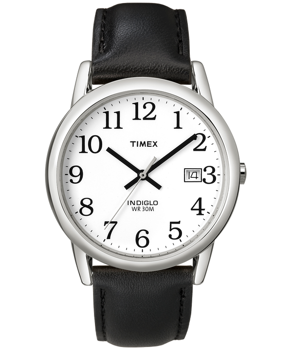 Reloj Easy Reader de 35 mm con correa de cuero Silver-Tone/Black/White large