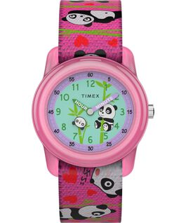 Kids Analog 28mm Elastic Fabric Strap Watch With Animal Prints Pink/Blue large