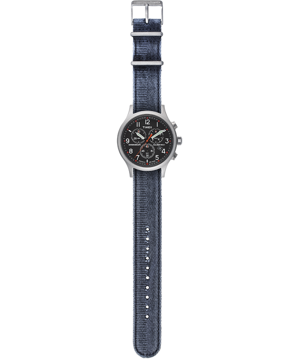 Reloj cronógrafo Allied de 42mm con correa de tela lavada a la piedra Plateado/Azul/Negro large