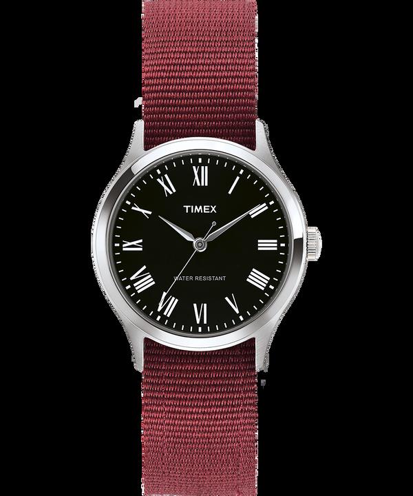 Reloj Whitney Avenue de 36mm con correa reversible de otomán Acero inoxidable/Negro large