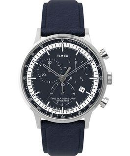 Reloj cronógrafo Waterbury Classic de 40mm con correa de piel y esfera acentuada Acero inoxidable/Azul large