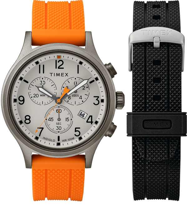 Set de regalo de reloj cronógrafo Allied de 42 mm con correa extra Gray/Orange large