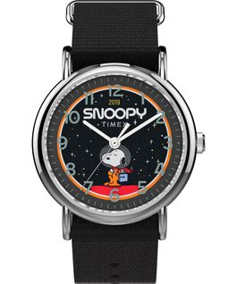 Timex x Space Snoopy Weekender 38mm Fabric Strap Watch Silver-Tone/Black large