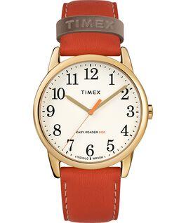 Reloj para mujer Easy-Reader Color Pop exclusivo de 38mm con correa de piel Dorado/Naranja/Crema large