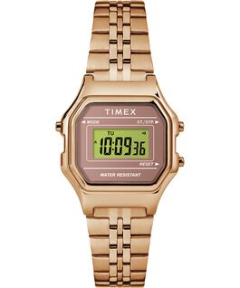 Reloj digital mini de 27 mm con correa metálica Tono oro rosa large