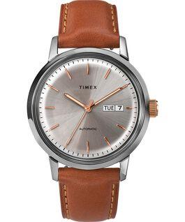 Reloj automático Marlin de 40 mm con correa de piel y fecha Acero inoxidable/Marrón/Crema large