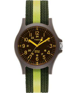 Reloj Acadia de 40 mm con correa de tela a rayas y cristal coloreado Verde/Negro large