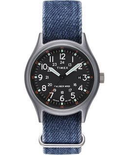 ArchiveMK1 Aluminum 40mm Fabric Strap Watch Silver-Tone/Blue/Black large