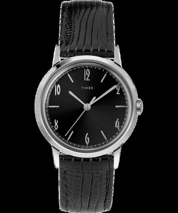 Reloj Marlin de 34mm de cuerda manual con correa de cuero Black/Black/Silver-Tone large